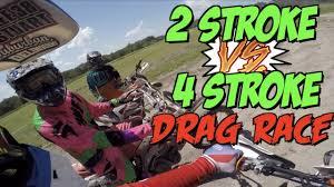 motocross drag racing 2 stroke vs 4 stroke drag race 450 vs 250 youtube