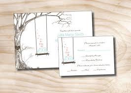 wedding invitation response card vintage tree swing lovebirds wedding invitation and response card