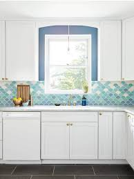 blue tile kitchen backsplash interior at home with michelle gage blue to white gradation of tile in