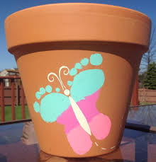 kids butterfly footprint flower pot craft babies and toddler