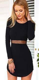 black cut out dress black scoop neck sleeve cut out mesh waist bodycon mini dress