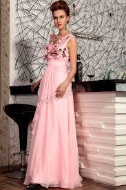 prom dresses online pink v neck flowers sleeveless backless