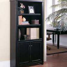 Bookcase With Doors Black Fully Assembled Bookcases Bookshelves Hayneedle
