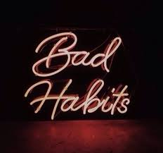 Light Words Neon Lights Bad Habits Light Up Sign Typography Text