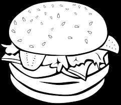 fast food lunch dinner ff menu black white line art svg