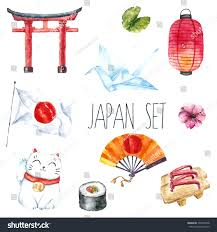 watercolor set japan hand draw japanese stock vector 295228748