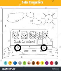 coloring page kids traveling bus stock vector 461337739