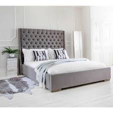 studs u0026 buttons grey upholstered bed king size grey