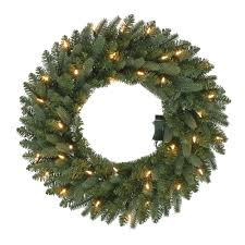 Decorated Christmas Wreaths Artificial by 24 In Pre Lit B O Led New Meadow Artificial Christmas Wreath X