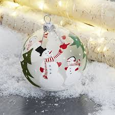 snowman clear glass ornament crate and barrel