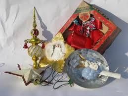 lot of vintage christmas decorations angel hair tree toppers