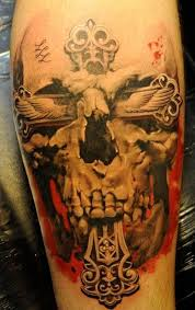 mens religious skeleton artwork 3d tattoos design idea for