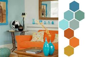 blue and orange room matching colors of wall paint wallpaper patterns and existing
