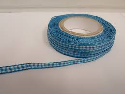 blue gingham ribbon turquoise blue 2 metres or roll x 5mm gingham ribbon