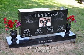 unique headstones cunningham floral design family headstone in black granite
