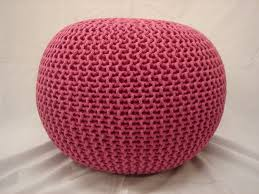 large 60cm knitted pod pouffe foot stool ottoman contemporary