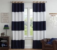Striped Blackout Curtains Rugby Blackout Panel Pottery Barn