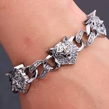 man cuff bracelet images Punk stainless steel wolf head bracelet men dragon leopard skull jpg