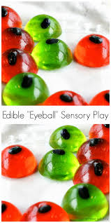 halloween sensory bin for baby and toddlers edible eyeballs