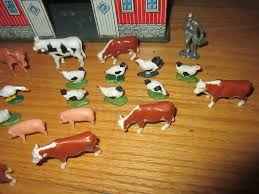 Toy Barn With Farm Animals Vintage Small Tin Toy Barn Farm Animals Too Unusual Size 8