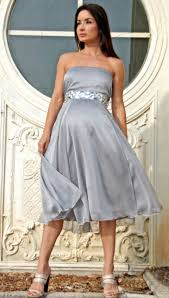 crystal silver strapless formal maternity dress