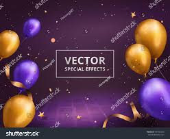 holiday decoration frame golden purple balloons stock vector