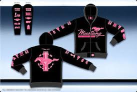 ford mustang pink black ladies hoodie jacket embroidered zip