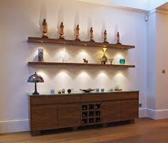 walnut floating shelves with led lights