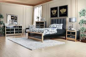 Eastern King Bed Braunfels Contemporary Style Black U0026 Gold Finish Eastern King Size