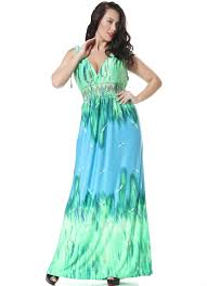 plus size green silk boho summer dress with deep v neck