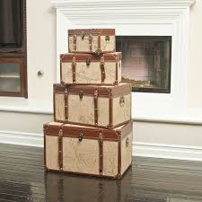 Old Home Decor Set Of 4 Stacking Old World Map Home Decor Storage Trunks
