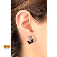 huggie earrings wars enamel filled logo huggie earrings