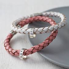 customized baby bracelets personalised leather hoop bracelet by soremi jewellery