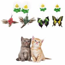 electric rotating colorful butterfly cat toys bird pet