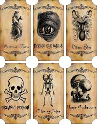 vintage inspired halloween sepia 6 large bottle label stickers