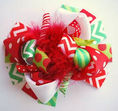 christmas hair bows christmas green chevron loopy hair bow