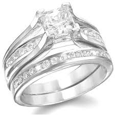 Wedding Ring Sets For Her by Amazon Com Kingswayjewelry His U0026 Her 3 Piece Women Sterling