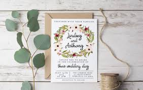 wedding invitation template rustic bohemian floral printable