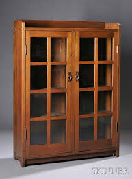 gustav stickley two door bookcase oak wood new york 1912 1916