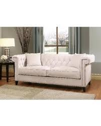 deal alert abbyson victoria ivory velvet tufted sofa ivory