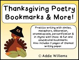 classroom freebies thanksgiving poetry bookmarks