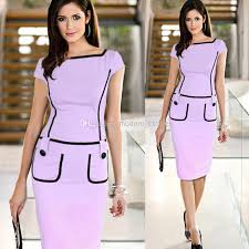 2014 career ladies formal working dress slim square neck patchwork
