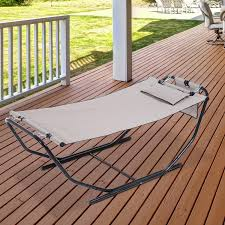 outsunny heavy duty steel frame lounger bed outdoor patio hammock