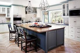 wood tops for kitchen islands blue kitchen island with wood countertop transitional kitchen