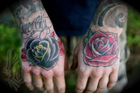 100 roses tattoos men back of the hand tattoo of a
