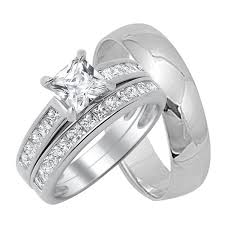 wedding ring sets for him and his and hers wedding trio ring sets look real tagged his and