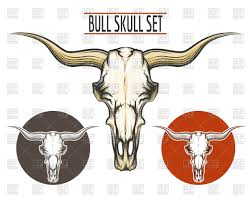 set of bull skulls drawn in tattoo style vector clipart image