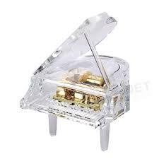 acrylic clear clockwork movement box play piano led