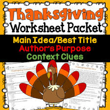 thanksgiving test prep worksheet packet idea context clues
