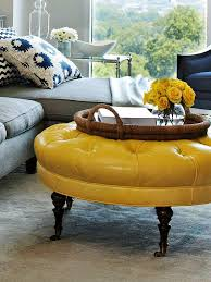 yellow round ottoman 13599
